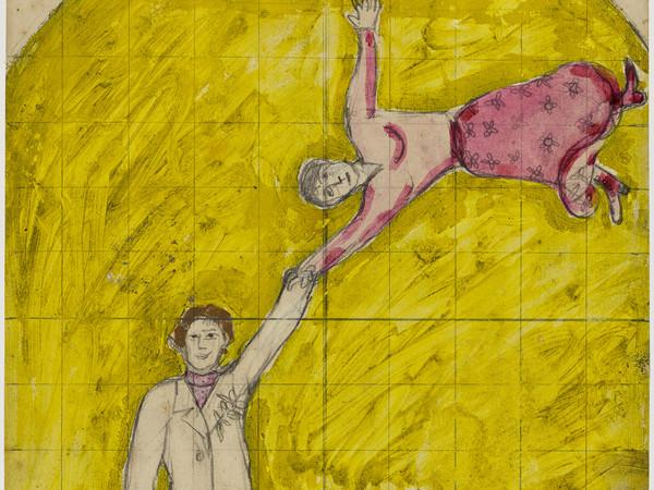 La Passeggiata - Il disegno: Gouache, acquerello e grafite su carta.